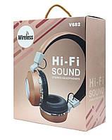 Беcпроводные блютуз наушники с микрофоном стерео гарнитура JBL V682 FM радио/MP
