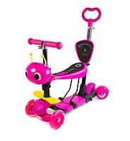 Музыкальный самокат со светящимися колёсами Scale Sports Scooter Пчёлка 5in1 Pink (697646574)