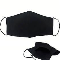 Маска PREMIUM текстильная черная многоразовая (без принта) c карманом