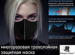 Черная многоразовая медицинская маска,Антибактериальная повязка,респиратор, Женская и Мужская