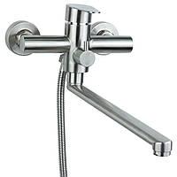 Смеситель для ванны гусак прямой 325 мм дивертор встроенный картриджный