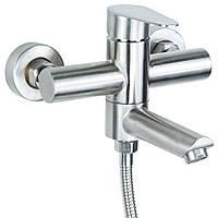 Смеситель  для ванны гусак прямой 100мм дивертор встроенный картриджный