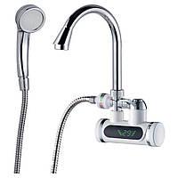 Кран-водонагреватель проточный 3.0кВт 0,4-5бар для ванны гусак ухо настенный