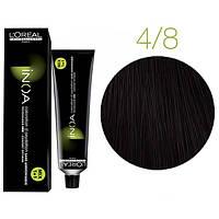 Крем-краска для волос L'Oreal Professionnel INOA Mix 1+1 №4/8 Шатен мокко 60 мл