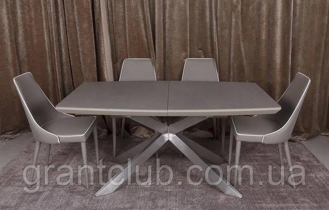 Раскладной обеденный стол PORTLAND 160/210-95 стеклокерамика мокко Nicolas (бесплатная доставка)