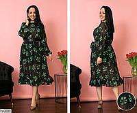 Женское стильное платье больших размеров, повседневное. Ткань: креп шифон на подкладе производство турция.