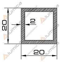 Труба алюминиевая квадратная 20х20х2 мм без покрытия ПАС-2062 (БПЗ-0341)