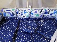 Набор детского постельного белья Бонна Комфорт(Динозаврики синие) 9 предметов
