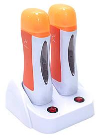 Нагреватель для воска двойной с базой (оранжевая крышка)