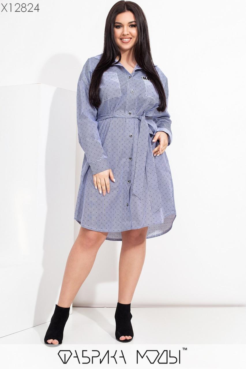 Коттоновое платье рубашка в больших размерах с длинным рукавом 1ba614