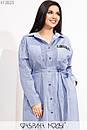 Коттоновое платье рубашка в больших размерах с длинным рукавом 1ba614, фото 2