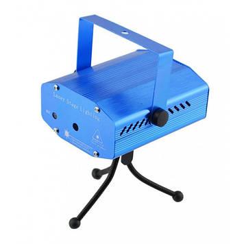 Лазерный проектор, стробоскоп, диско лазер UKC HJ08 4 в 1 c триногой Синий 4053 Оригинал