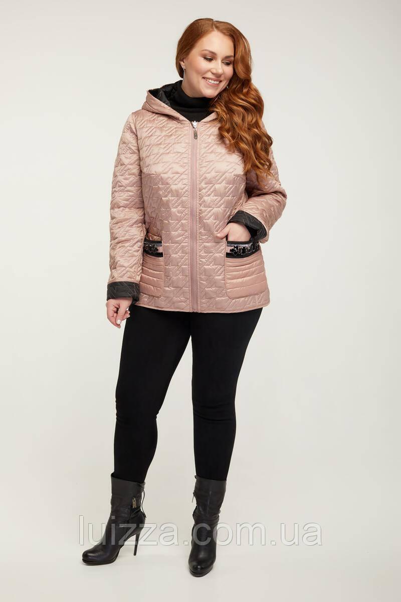 Двухсторонняя куртка с камнями на карманах 54-64рр