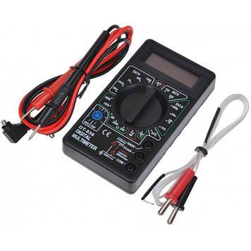 Мультиметр тестер вольтметр амперметр DT-838 + термопара + щупы + крона Оригинал