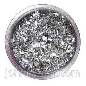 Соломка в баночці для нігтів срібна №1 А286-1