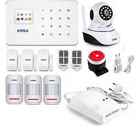 Беспроводная GSM сигнализация Kerui G18  + наружная и внутренняя  WI-FI IP камера для 3-х комнатной квартир (TTYD98DHBBD)