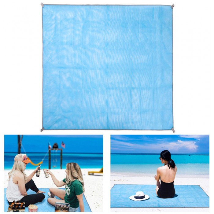 Коврик-подстилка для пикника или моря анти-песок Sand Free Mat 200x200 мм Голубой Оригинал