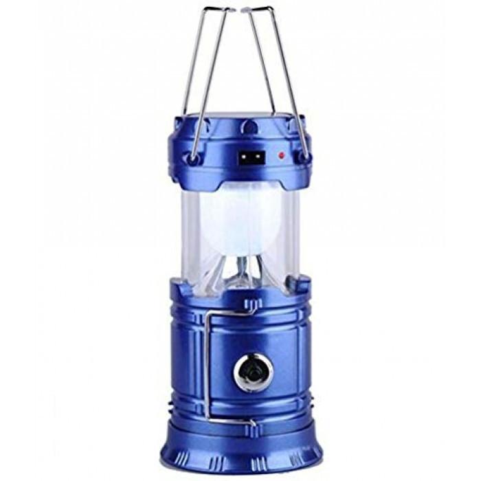Кемпинговая LED лампа JH-5800T c POWER BANK Фонарь фонарик солнечная панель Синий Оригинал