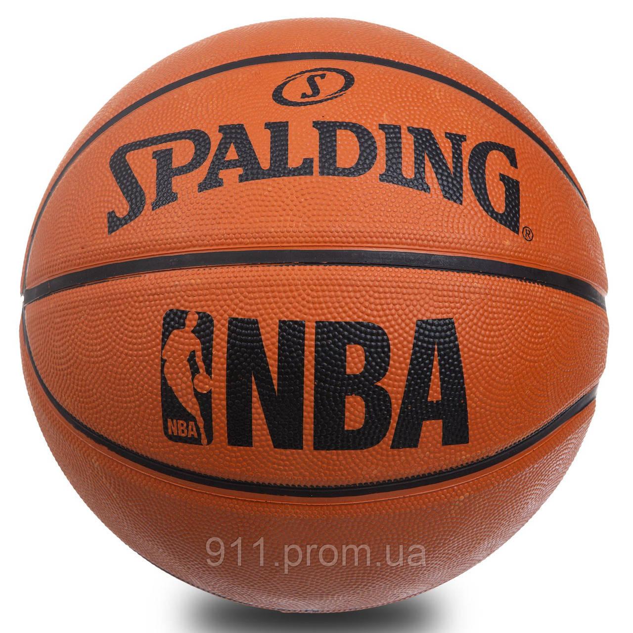 Мяч баскетбольный резиновый №7 SPALD BA-1309 NBA, резина, бутил, коричневый