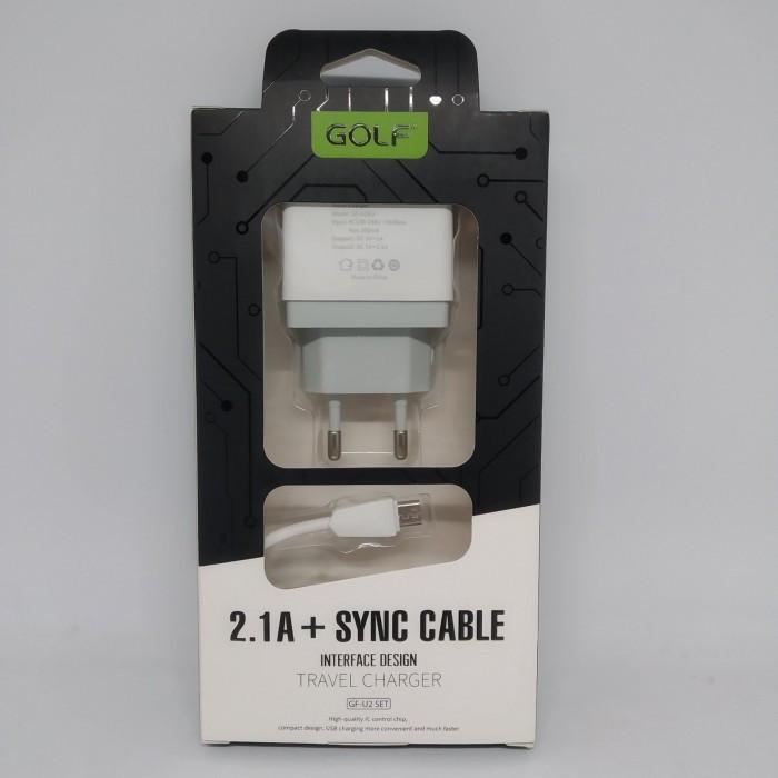 Зарядное устройство Golf GF-U2 SET Travel charger + Micro cable 2USB 2,1A Белый Оригинал