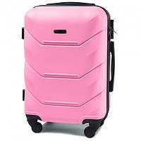 Дорожный чемодан пластиковый Wings 147 ручная кладь 4 колеса розовый
