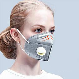 Респиратор защитная маска KN95 евро стандарт FFP2 С клапаном 5 слоев