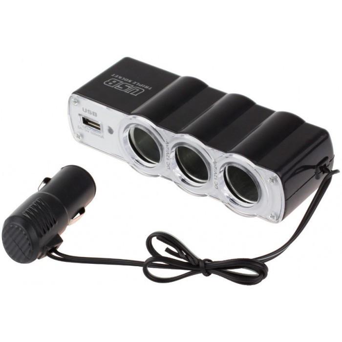 Автомобильный разветвитель тройник WF-0120 + USB Оригинал
