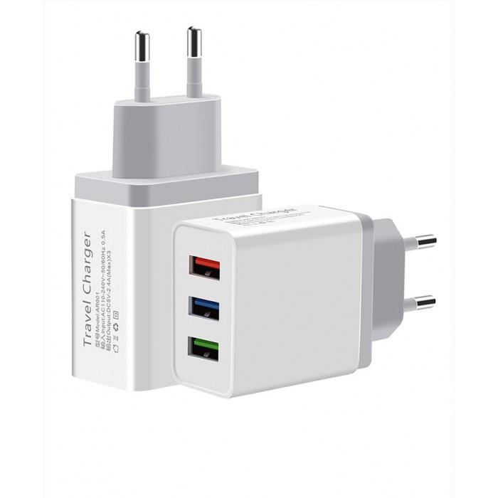 Сетевое зарядное устройство UKC 4758 Fast Charge AR 001 c 3 USB портами Оригинал