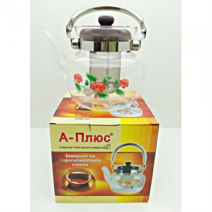 Стеклянный чайник-заварник А-Плюс TK-1041 800 мл Оригинал