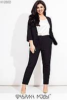 Женский брючный костюм в больших размерах с жакетом и укороченными брюками 1mbr620, фото 1
