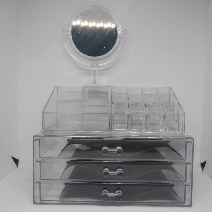 Акриловый органайзер для косметики с зеркалом Cosmetic Storage Box модель JN 878 Оригинал
