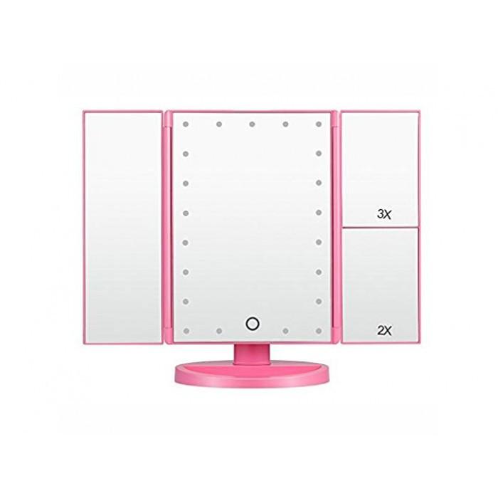 Зеркало для макияжа Superstar Magnifying Mirror с LED-подсветкой РОЗОВЫЙ Оригинал