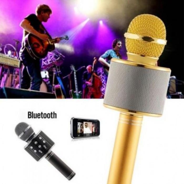 Беспроводной микрофон караоке блютуз WS-858 Bluetooth динамик USB Золотой Оригинал
