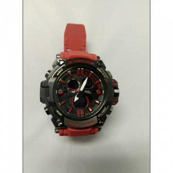 Кварцевые спортивные Наручные Часы G-Shock 2 protection Чёрные с красным ремешком Оригинал