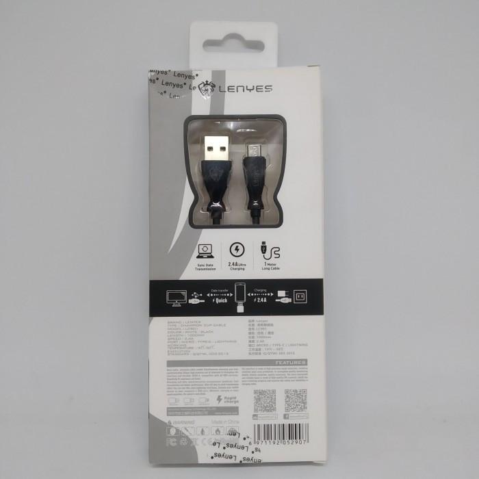 Кабель, шнур Lenyes LC901 USB-MICRO USB провод 2,4A Чёрный Оригинал