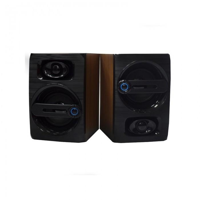 Компьютерные деревянные колонки акустика FT-108 Тёмно - коричневые Оригинал