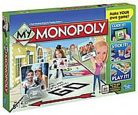 Детская Развивающая Экономическая Настольная Игра Моя Монополия для 2-4 игроков с наклейками Monopoly Hasbro