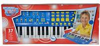 Детский Игровой Развивающий Музыкальный Инструмент Синтезатор 37 клавиш с режимом записи синий SIMBA Симба