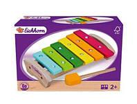 Детский Музыкальный Инструмент Ксилофон, 6 разноцветных металлических пластин на деревянной основе, Eichhorn