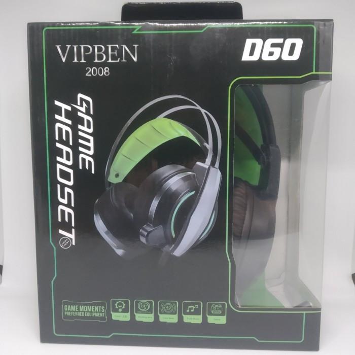 Игровые проводные наушники VIPBEN D60 с микрофоном Чёрные с Синим Оригинал