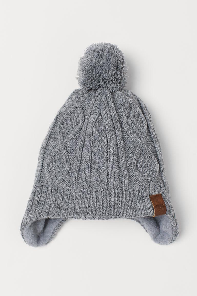 Серая шапка на флисе  H&M  р.1,5-4, 4-8 лет