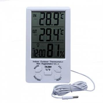 Метеостанция Термометр Гигрометр TA298 с часами и выносным датчиком Оригинал