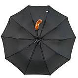 "Мужской складной зонт-полуавтомат на 10 спиц с системой ""антиветер"" от Calm Rain, ручка крюк, 358, фото 4"