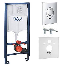 Инсталяция для подвесного унитаза GROHE Rapid SL комплект 4 в 1 с хромированной кнопкой и прокладкой