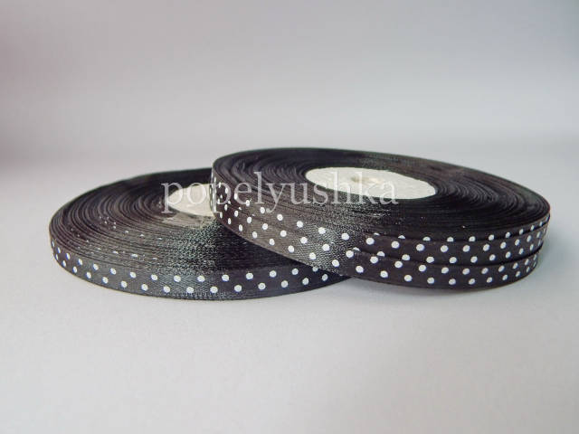 Стрічка атласна горох 0,6см чорна