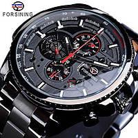 Часы  мужские  Forsining All Black Red  наручные