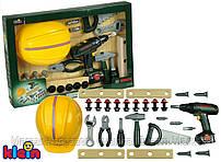 Детский Игровой Безопасный Большой Набор инструментов с каской и шуруповертом 8 предметов Bosh Klein Кляин