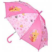 Детский Прочный Механический Зонтик для девочек с удобной ручкой розовый с Винни Пухом Starpak Старпак 45 см