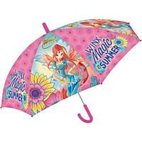 Детский Прочный Механический Зонтик для девочек с удобной ручкой розовый с феями Винкс Starpak Старпак 45см