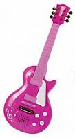 Детский Развивающий Музыкальный Инструмент Рок Гитара с металлическими струнами, песни, 55 см, розовая, Simba